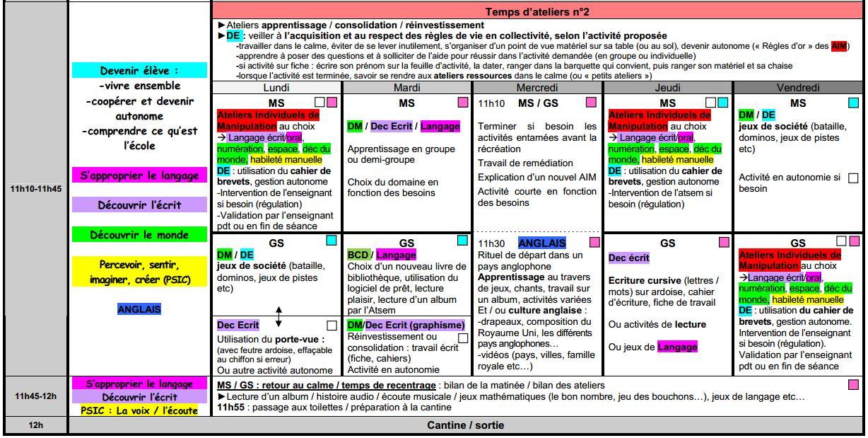 foto de Emploi du temps MS/GS Objectif MaternelleObjectif Maternelle