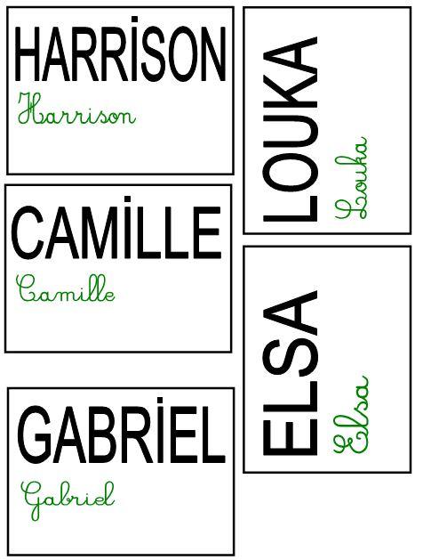 Etiquettes Prenoms Ms Gs Objectif Maternelleobjectif Maternelle